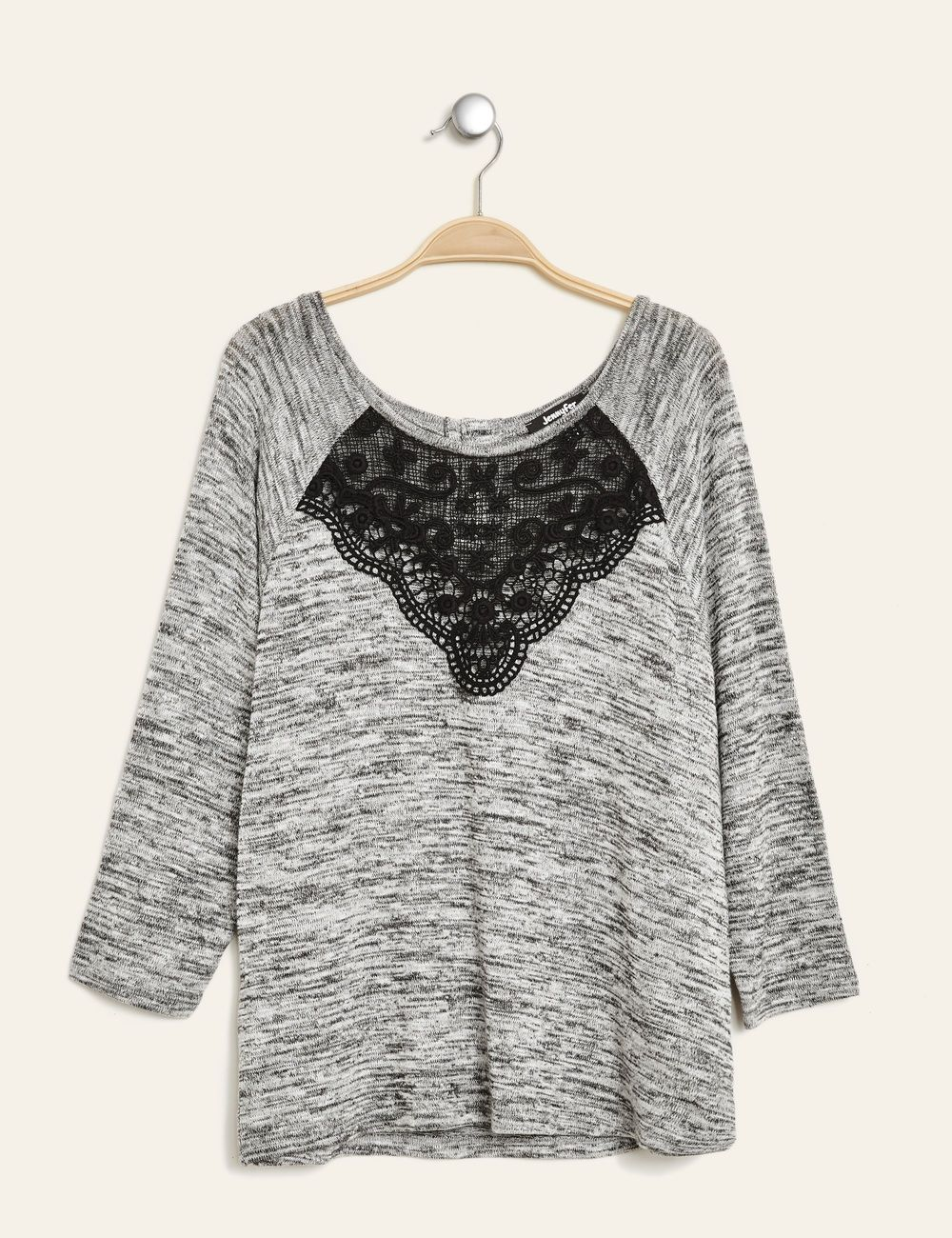 2017f4935a2 Tee-shirt détail macramé gris anthracite chiné femme • Jennyfer ...