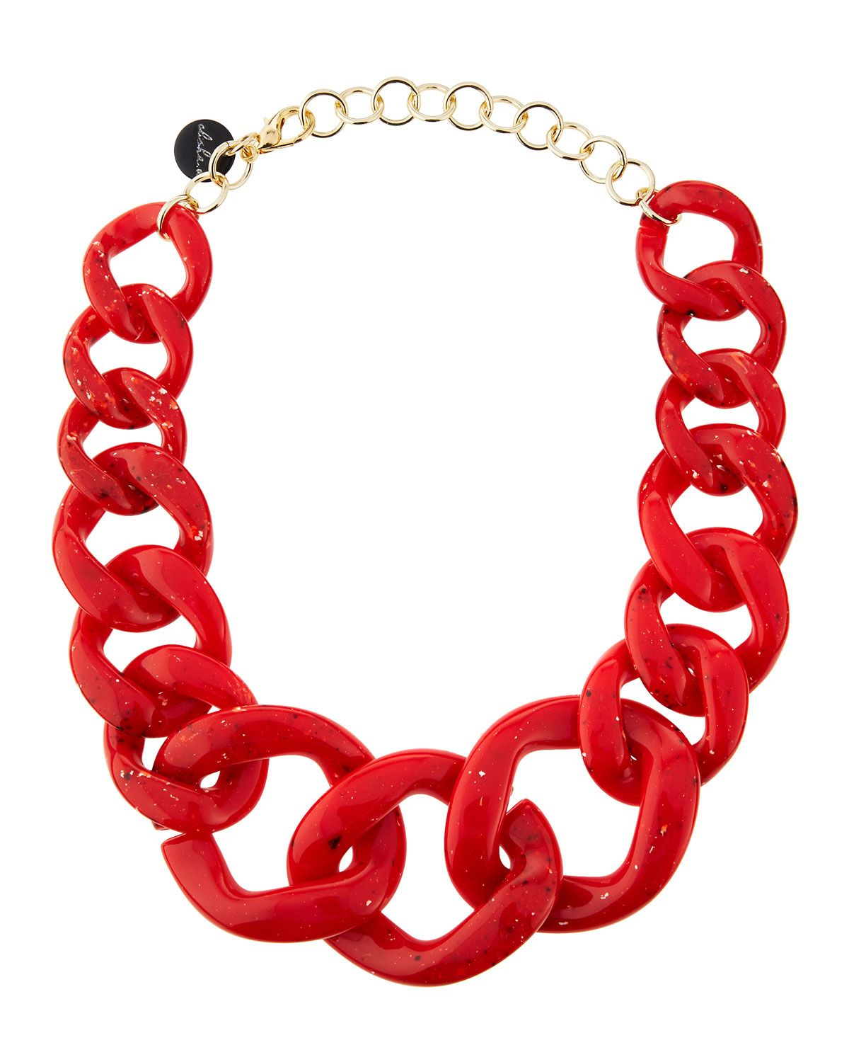 alisha.d Graduated Link Necklace, Red