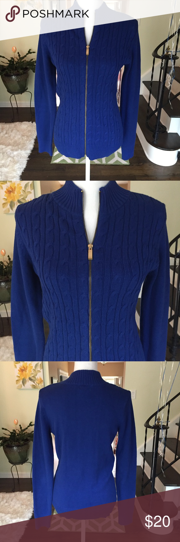 Charter Club cable knit sweater. Size medium | Royal blue sweater ...