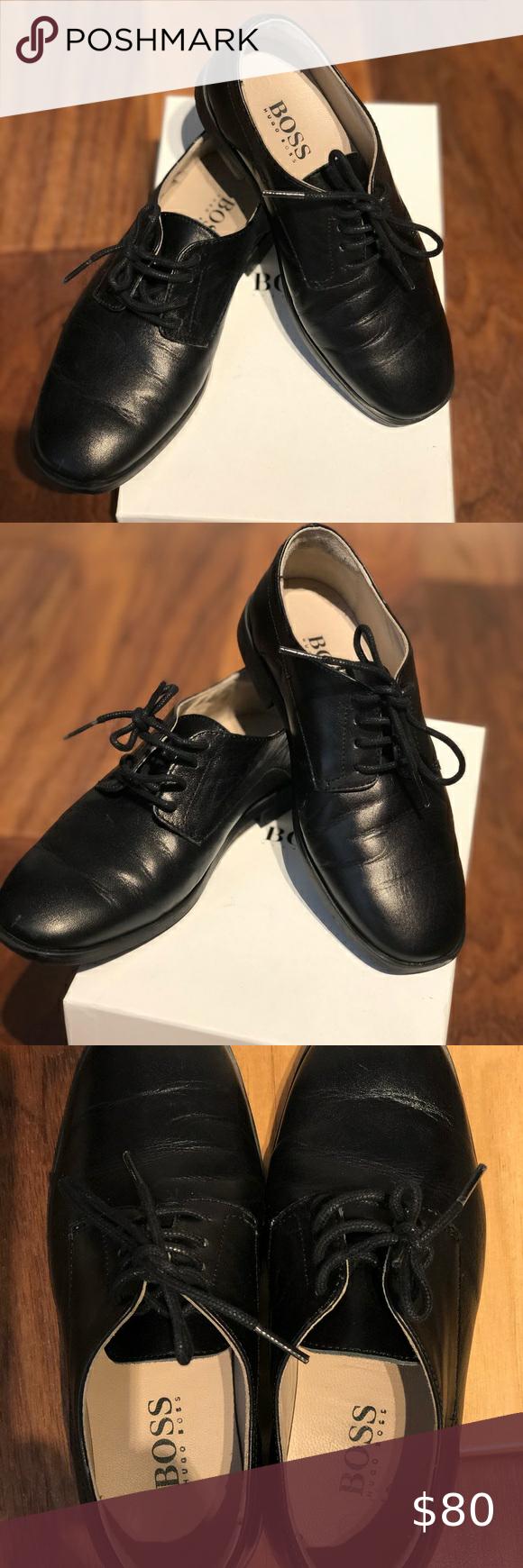 Hugo boss shoes, Black leather shoes
