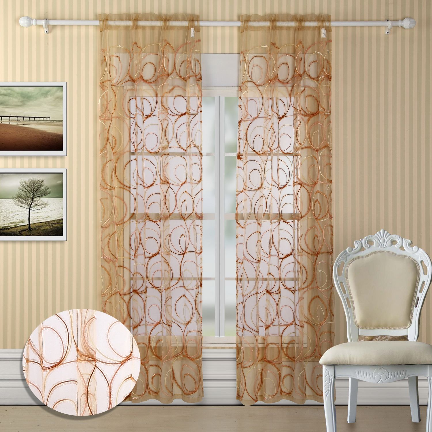 Evelyn Grommet Curtain Panel Pair Color Gold Brown By Chichome Luxbed Gold Windows Bedroom Home Grommet Curtains Curtains Panel Curtains