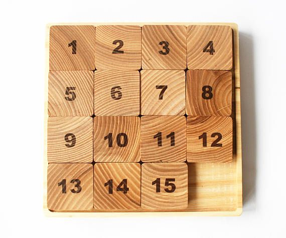 Fifteen Puzzle Wooden Sliding Puzzle Number Puzzle Logic