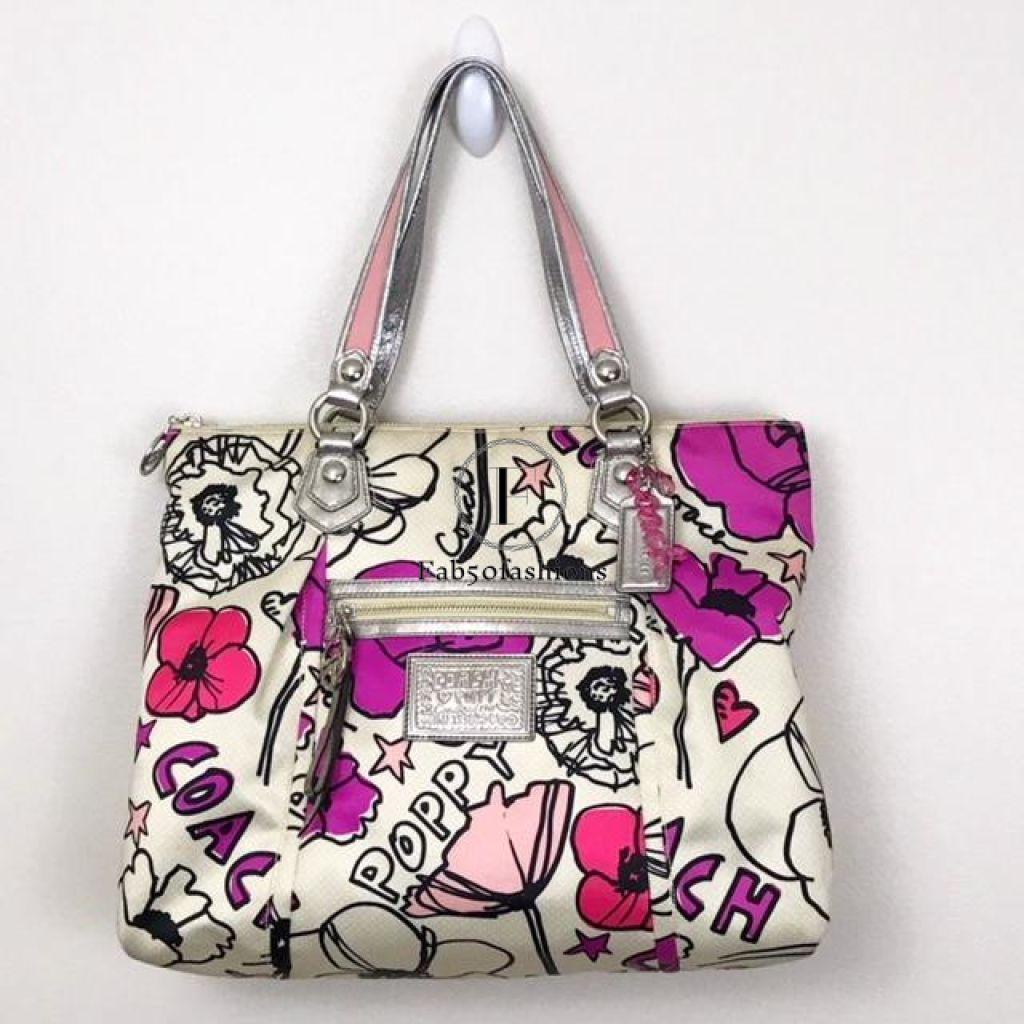 Preloved Coach Poppy Petal Print Lux Rocker Shoulder Bag