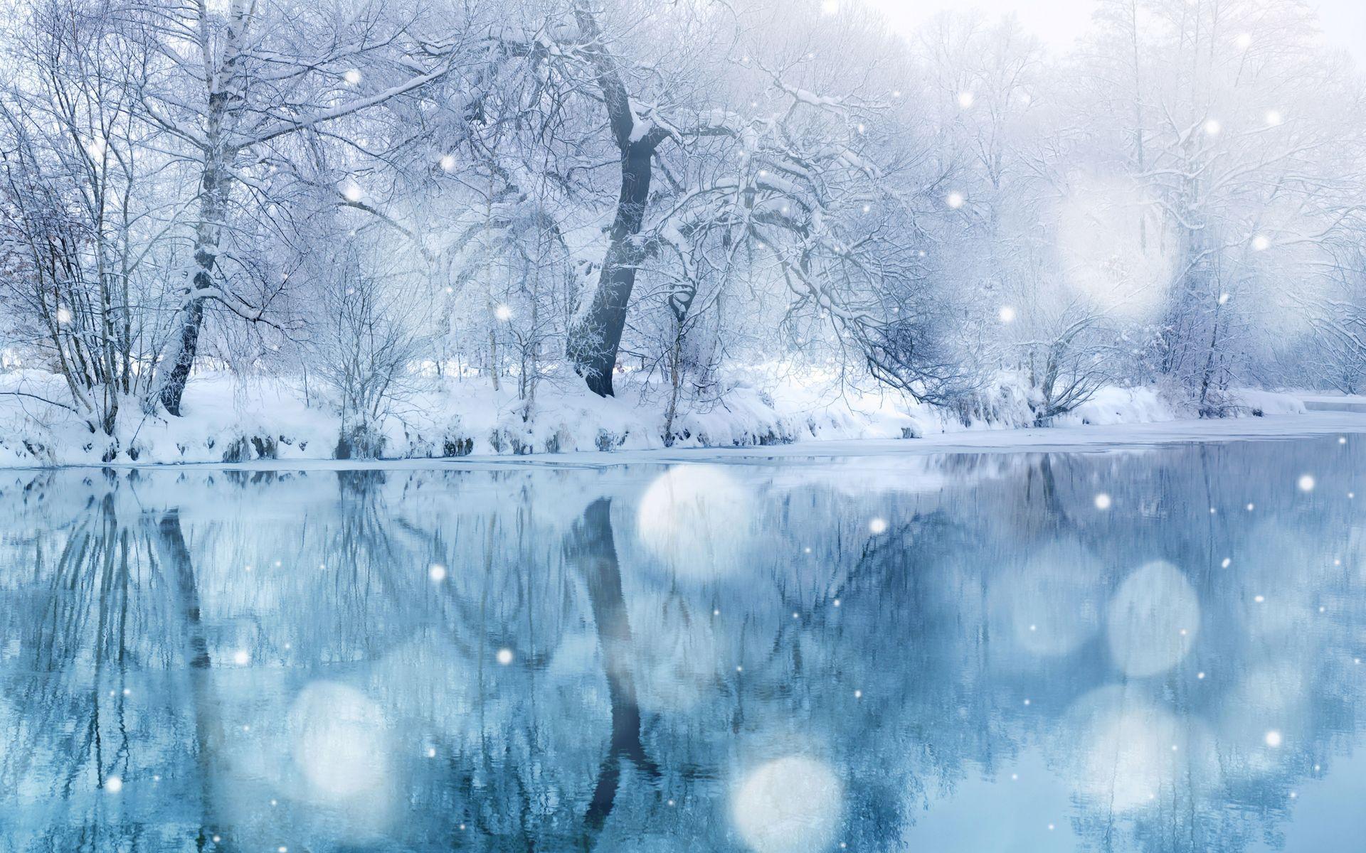 Snow River Winter Landscape Widescreen Wallpaper Winter Facebook Covers Winter Wallpaper Snowfall Wallpaper