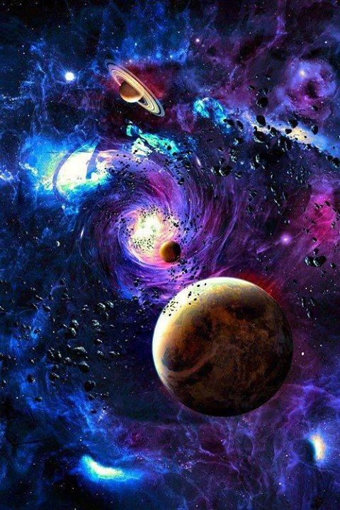 Post art trippy cool drugs dream imagine acid psychedelic space galaxy trip colors - Galaxy and planets ...