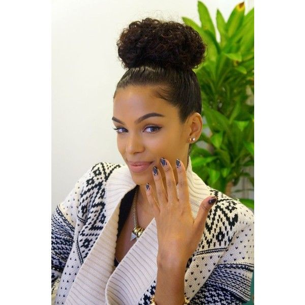 Small Curly Bun Hairstyle For Black Women Natural Hair Styles Hair Styles Curly Hair Styles