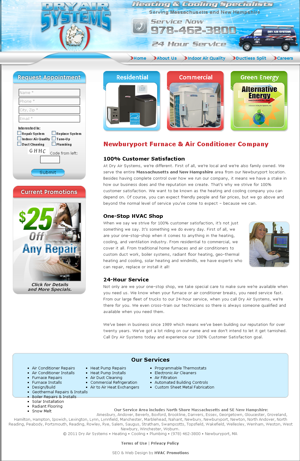 Website Design Portfolio Air Conditioner Company Portfolio Web