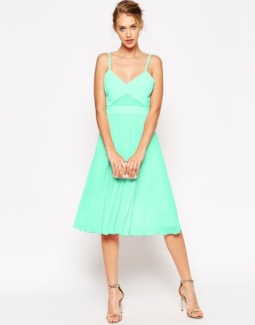 ASOS Sheer and Solid Pleated Midi Cami Dress (the Nude one, not mint ...