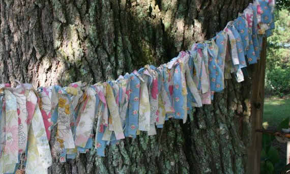 Vintage Fabric; string with lights and line patio / porch!
