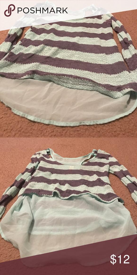 Long sleeve teal and gray knit top Runs small, gray and teal stripes, knit, long sleeve No Boundaries Tops Blouses