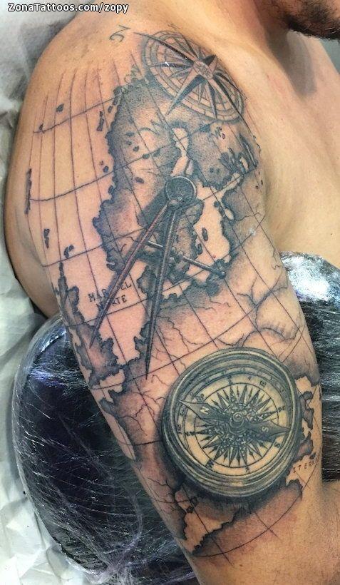 Tatuaje de zopy Mapas Rosa de los vientos Brjulas Brazo Hombro