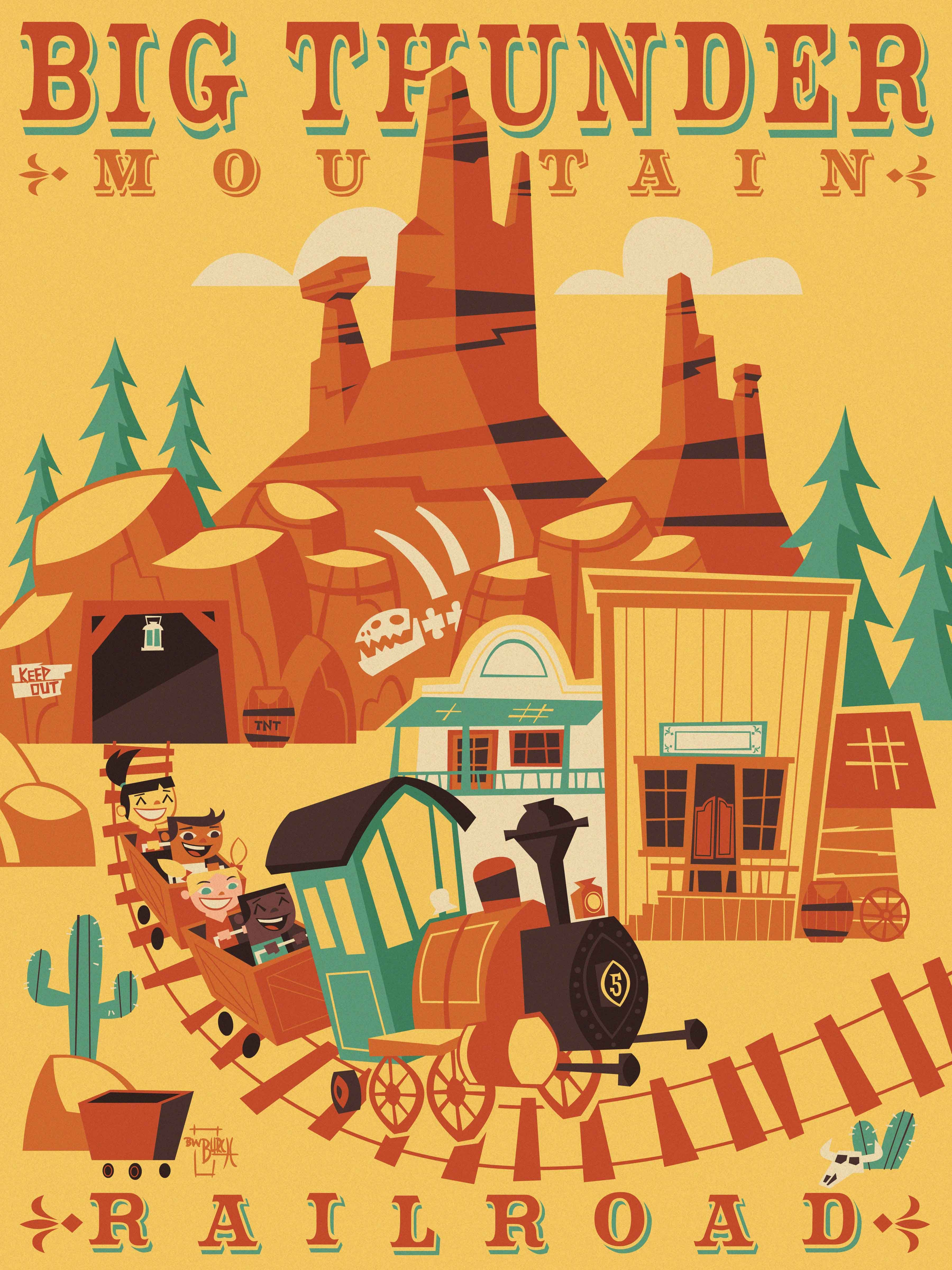 Big Thunder Mountain Railroad By Ben Burch Vintage Disney Posters Retro Disney Disney Posters