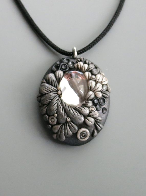 Pendant Necklace Polymer Clay Pearl And Antique Silver