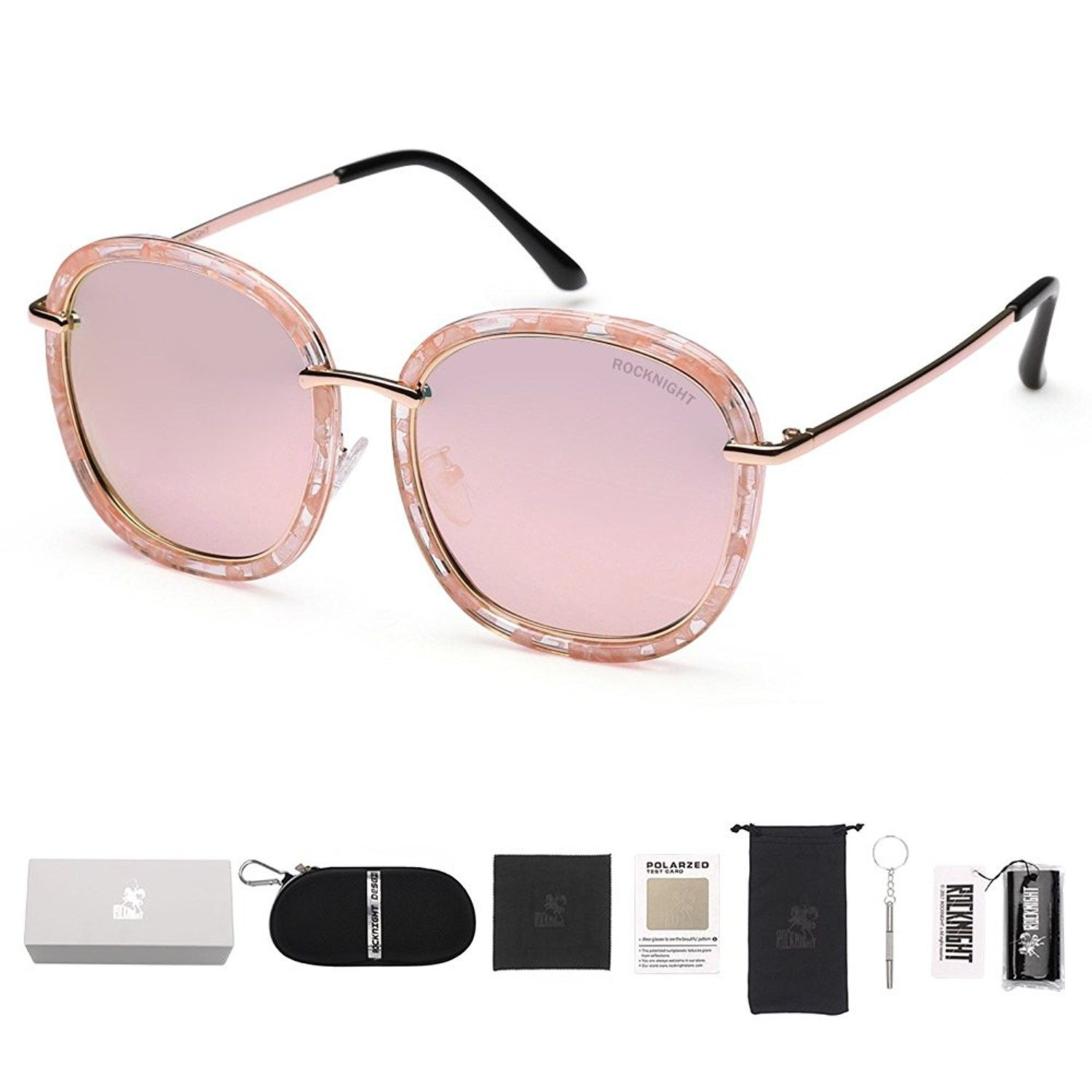 d314629a427 Rocknight Oversized Round Sunglasses Polarized Women Pink Mirrored Lens  Flower Frame Oval UV Protection Outdoor - CN1825C3N6Q - Women s Sunglasses