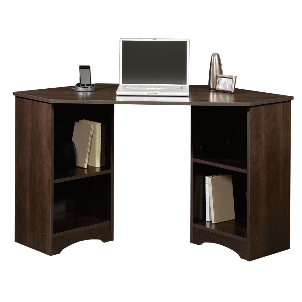 Corner Computer Desk With Hutch Storage Shelves Wooden Work Station Home Office