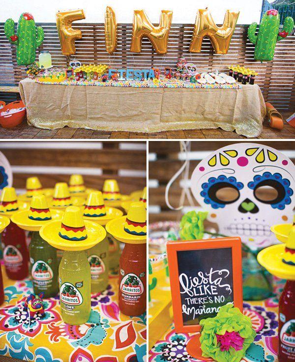 A Festive Fiesta Birthday Party with Día de los Muertos decor, sombreros on soda bottles, DIY candy Margarita glasses, glittered limes + mini maracas & piñatas
