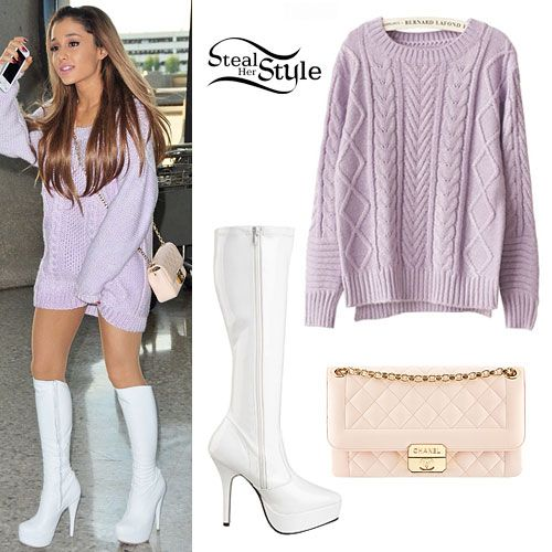 7dda94f37912 Ariana Grande: Purple Knitted Sweater Outfit - Style Steal | Ariana ...
