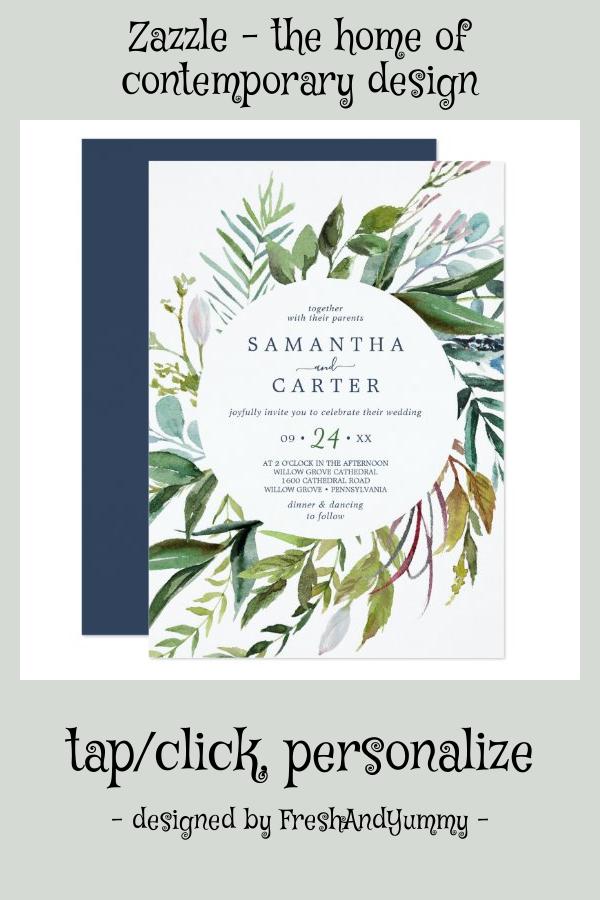 Summer Greenery Casual Wedding Invitation
