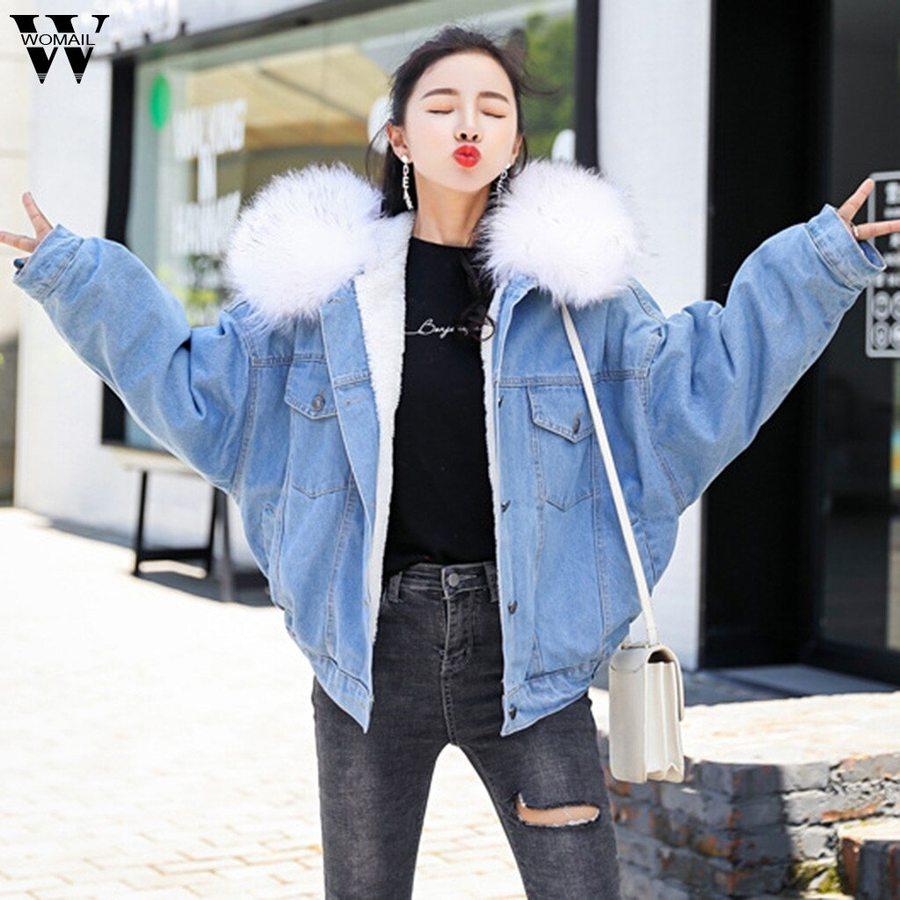 Jeans Hooded Coat Female Faux Fur Collar Padded Warm Denim Jackets Denim Jacket Women Winter Coats Women Winter Jackets Women [ 900 x 900 Pixel ]