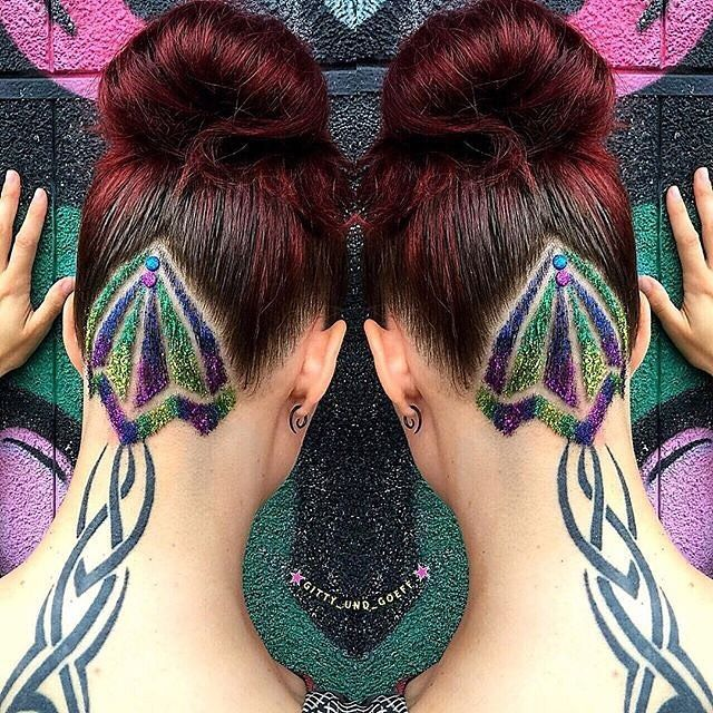 #shoutoutsunday  Tribal undercut with plenty of sparkle by @gitty_und_goeff Anja we can hear the drums beating from here! #hotonbeauty