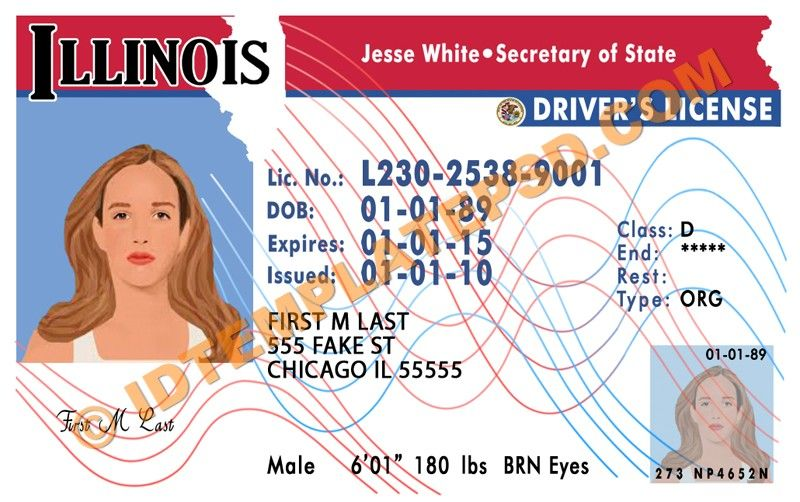 This is Illinois (USA State) Drivers License PSD (Photoshop ...