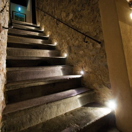 Flush Led Wall Lights Along Outdoor Stairs