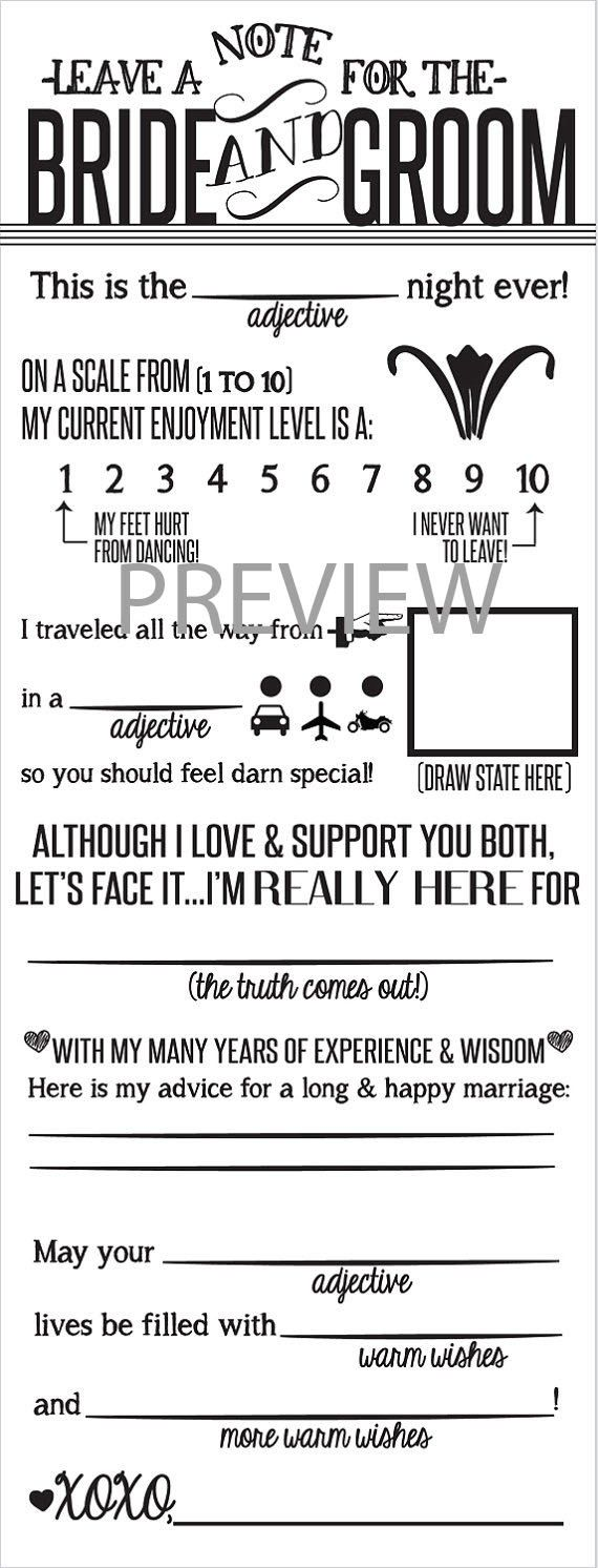 Wedding Mad Libs Printable | Wedding mad libs, Wedding and Weddings