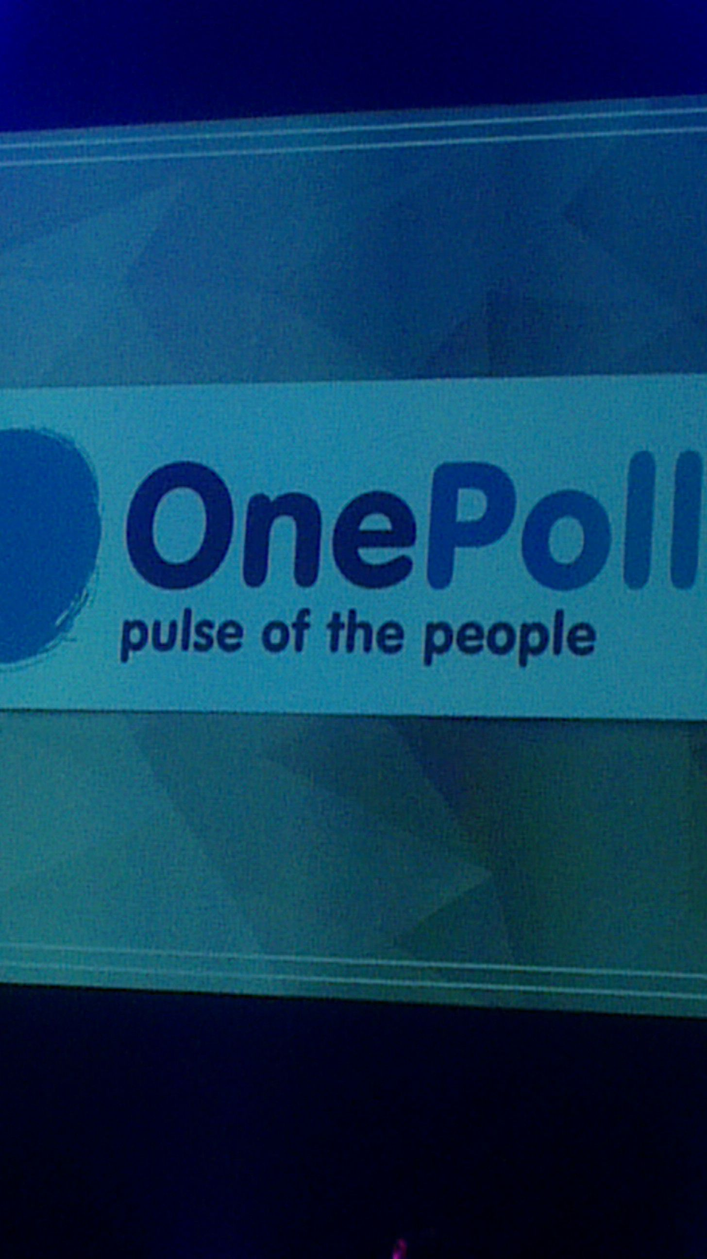 OnePoll logo, up in pride of place.  #PRWeekAwards 2014