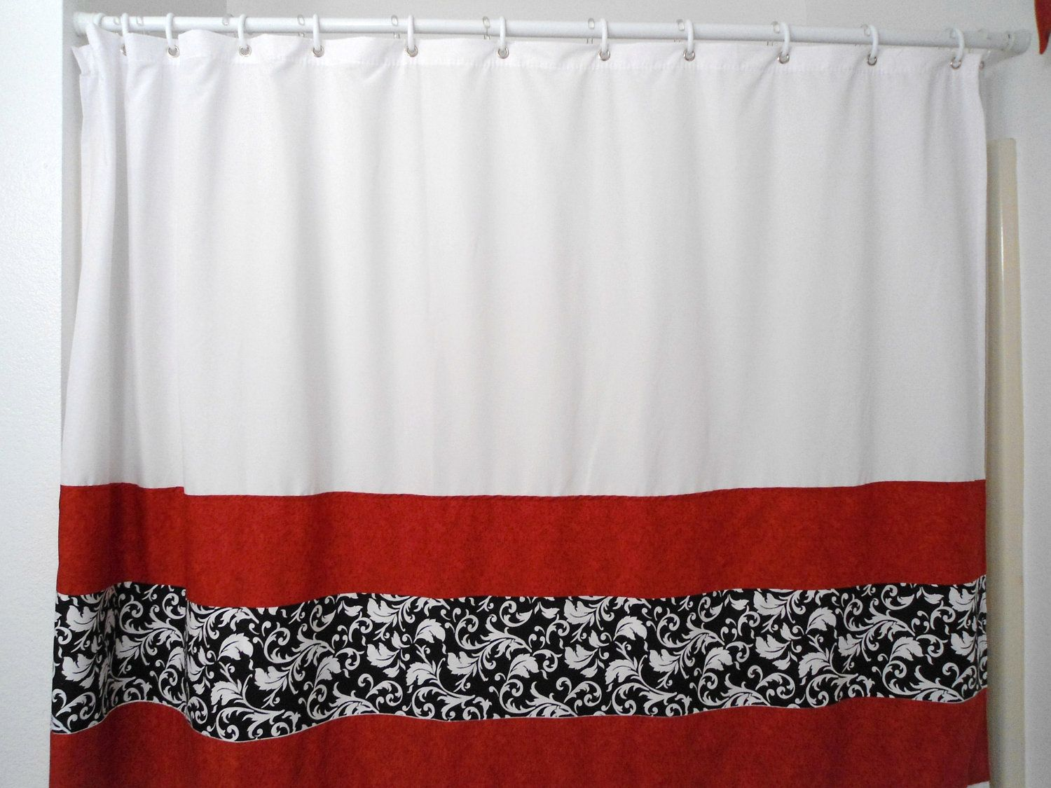 Red White Black Curtains  And Shower Target