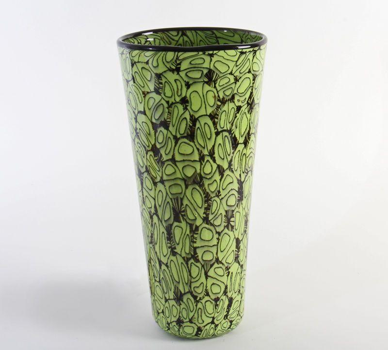Farbschöne VITTORIO FERRO Vase opake Murrine Murano Glas Fratelli Pagnin