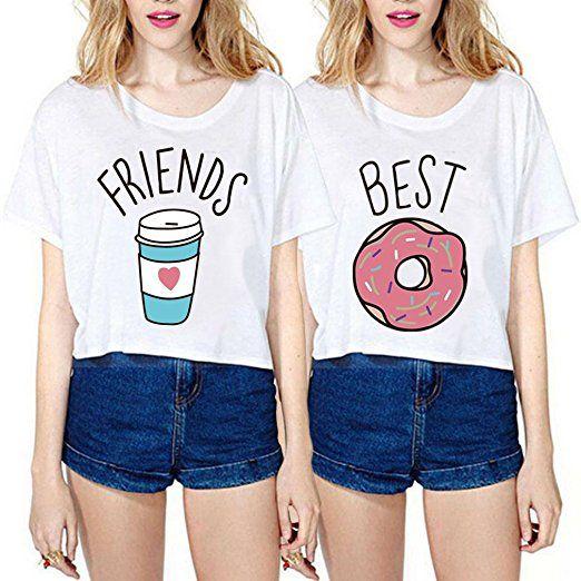 Best Friends T-shirt Mädchen Sommer JWBBU® Freund Shirt für zwei Damen Weiß  Oberteil Süß kurz mit Aufdruck Geschenk 2 Stücke 4235087e09