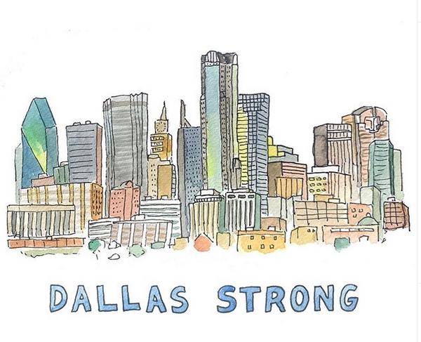 Dallas Strong Illustration Dallas Dallas Skyline