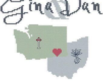 Modern Wedding Cross Stitch Pattern by oneofakindbabydesign ...