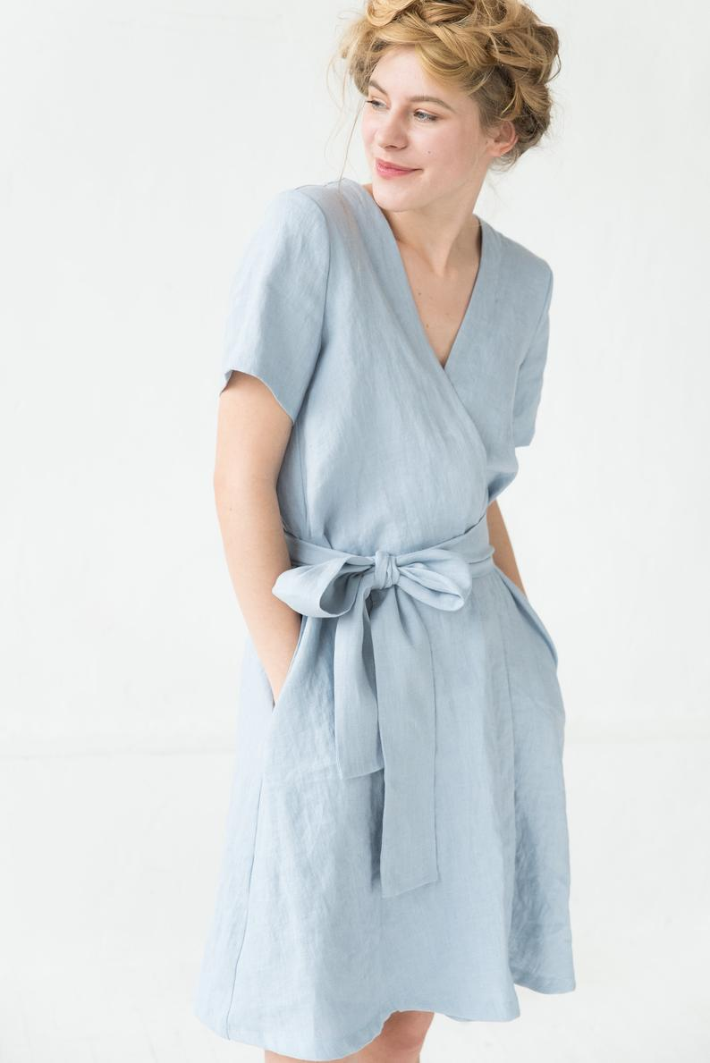 Linen Dress, Light Blue Dress, Wrap Dress, Pocket Dress, Midi Dress, Summer Linen Dress, Simple Wedding Dress, Boho Linen Dress, Belt -   17 dress Simple midi ideas