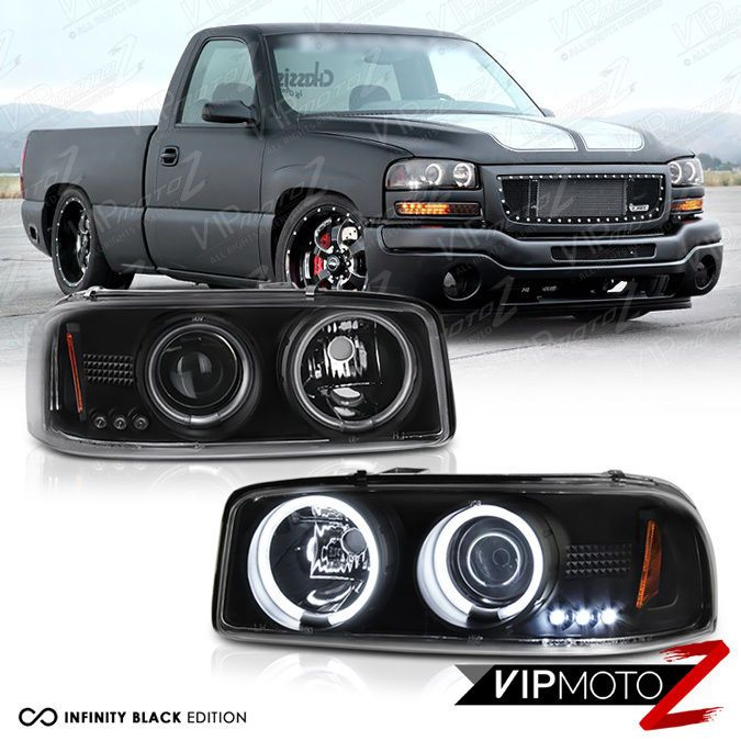 2000 2006 Gmc Yukon Denali 1500 2500 Ccfl Halo Led Projector Black