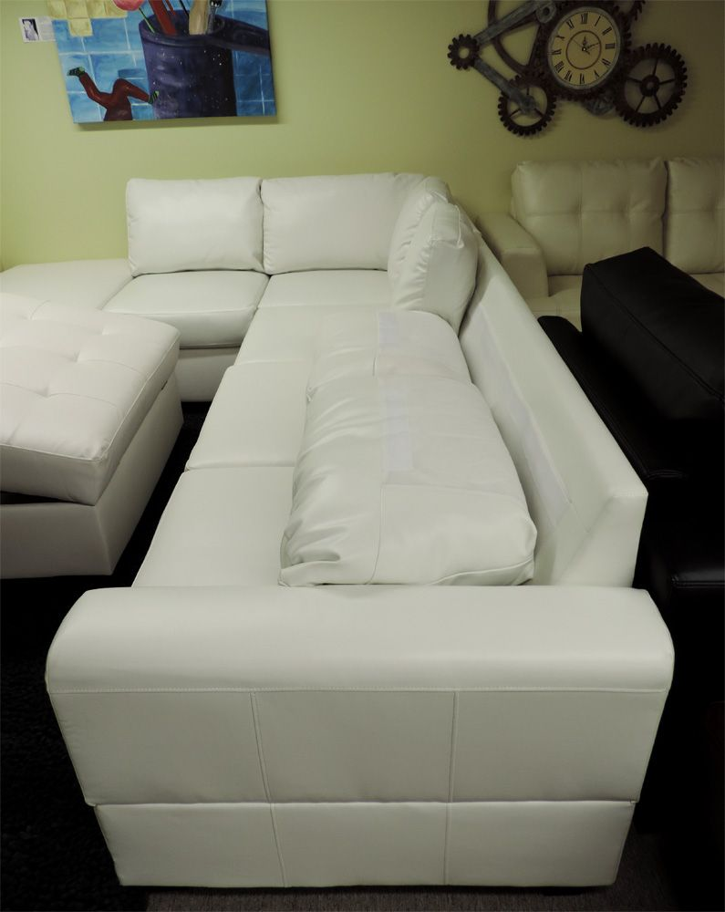 Sacramento White Cream Leather Sectional Sofa With Left Facing Chaise At Gowfb Ca Free