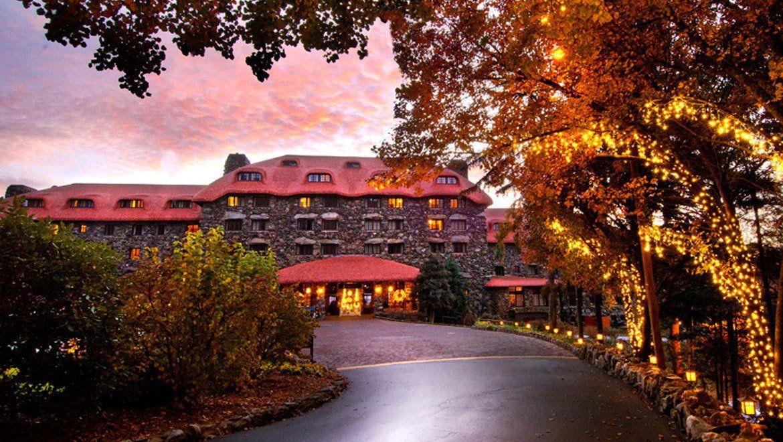 Entrance to Grove Park Inn at sunset Asheville Grove