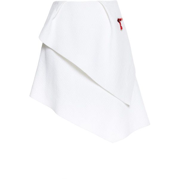 Preen by Thornton Bregazzi Textured Cotton Koko Skirt In White ($343) ❤ liked on Polyvore featuring skirts, cotton pleated skirt, white high waisted skirt, white skirt, preen skirts and white pleated skirt