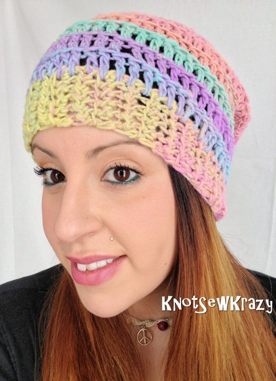 4b1de9e98c1 Crochet Slouch Beanie Pastel Rainbow Green Yellow by KnotSewKrazy ...
