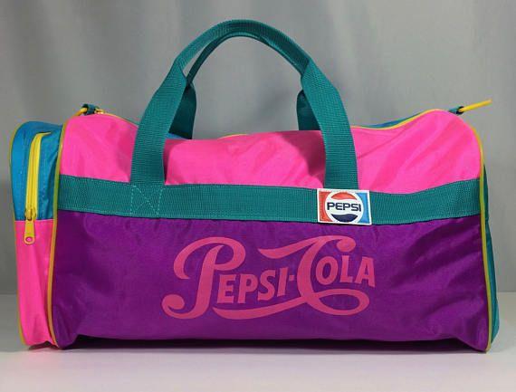 Pepsi Cola Duffle Bag Vintage 80s Neon Colours Pink Purple Blue ... 73ed4757440