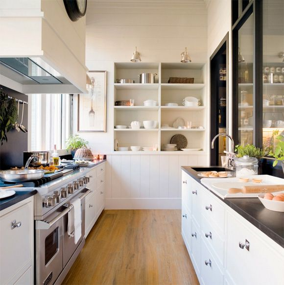 Functional English Style Kitchen Prep And Cooking Areas