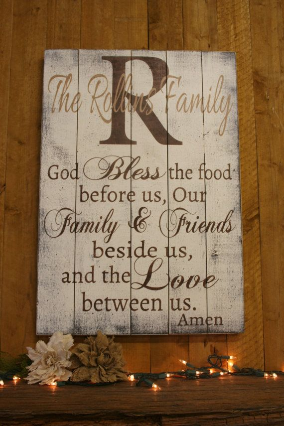 Bless The Food Pallet Sign Dining Room Decor By RusticlyInspired