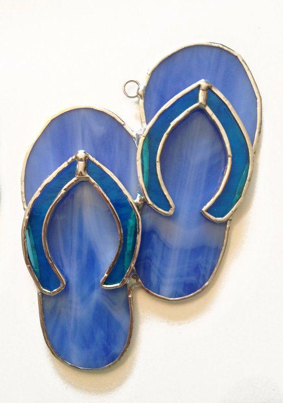 06a4d60b59d0e6 Handmade Stained Glass Flip-Flops   Sandals Suncatcher by QTSG
