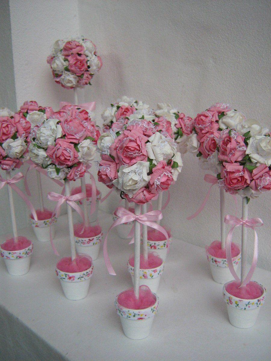 Arbolitos topiarios con flores 84 00 en mercadolibre - Centros de mesa con flores ...