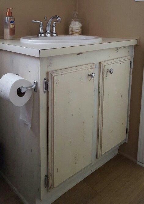 Chalk Painted Mobile Home Bathroom Cabinets Sheepskin Color - Mobile home bathroom cabinets