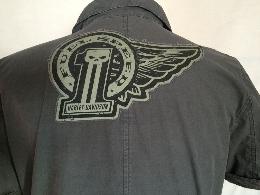Harley-Davidson Motorcycle Sz Large Gray Number One Mens Shirt Button-Down | eBay