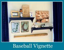 baseball vignette for boys' room - would love to do a basketball vignette :)