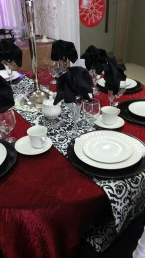 Red velvet crush linen with a reversible black and white chateau ...