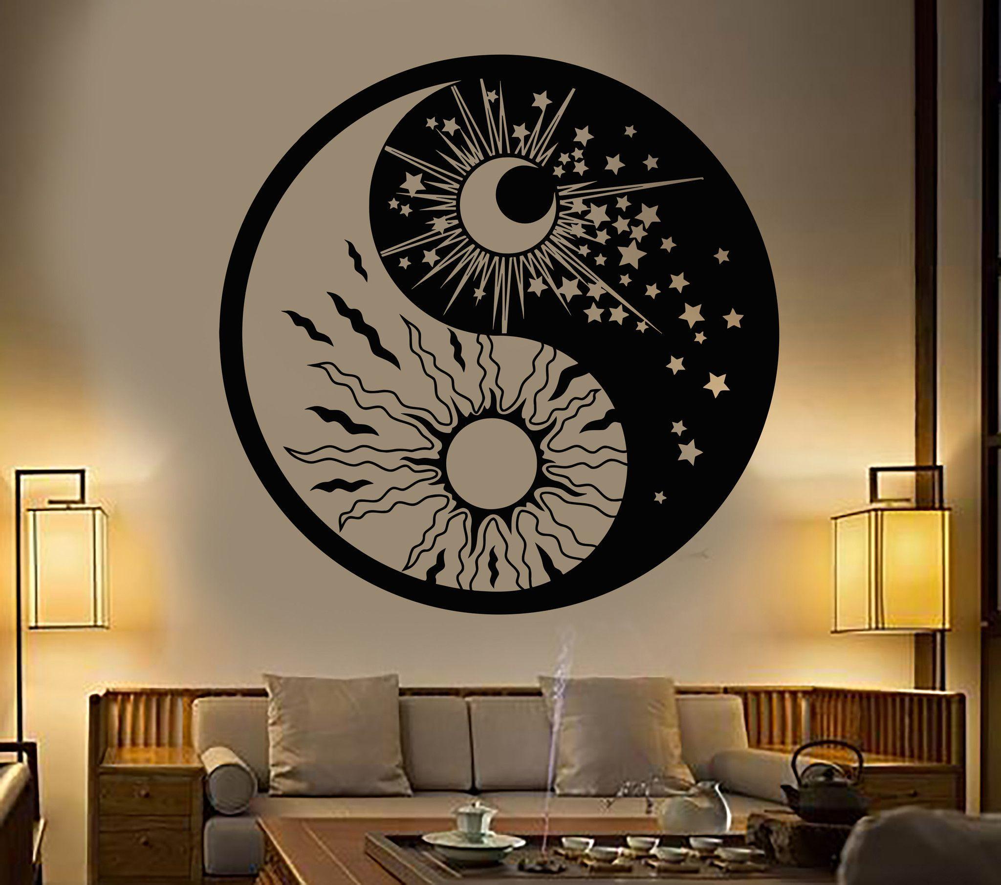 vinyl wall decal yin yang symbol sun moon buddhism stars. Black Bedroom Furniture Sets. Home Design Ideas