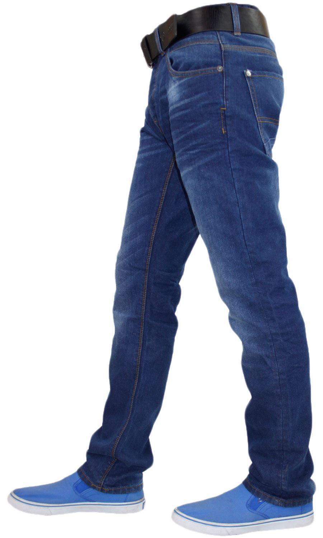 NEW MENS CROSSHATCH SLIM /& STRAIGHT FIT JEANS PANTS DARK BLUE ALL WAIST LEG SIZE